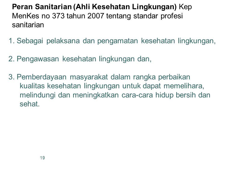 Peran Sanitarian (Ahli Kesehatan Lingkungan) Kep MenKes no 373 tahun 2007 tentang standar profesi sanitarian 19 1. Sebagai pelaksana dan pengamatan ke