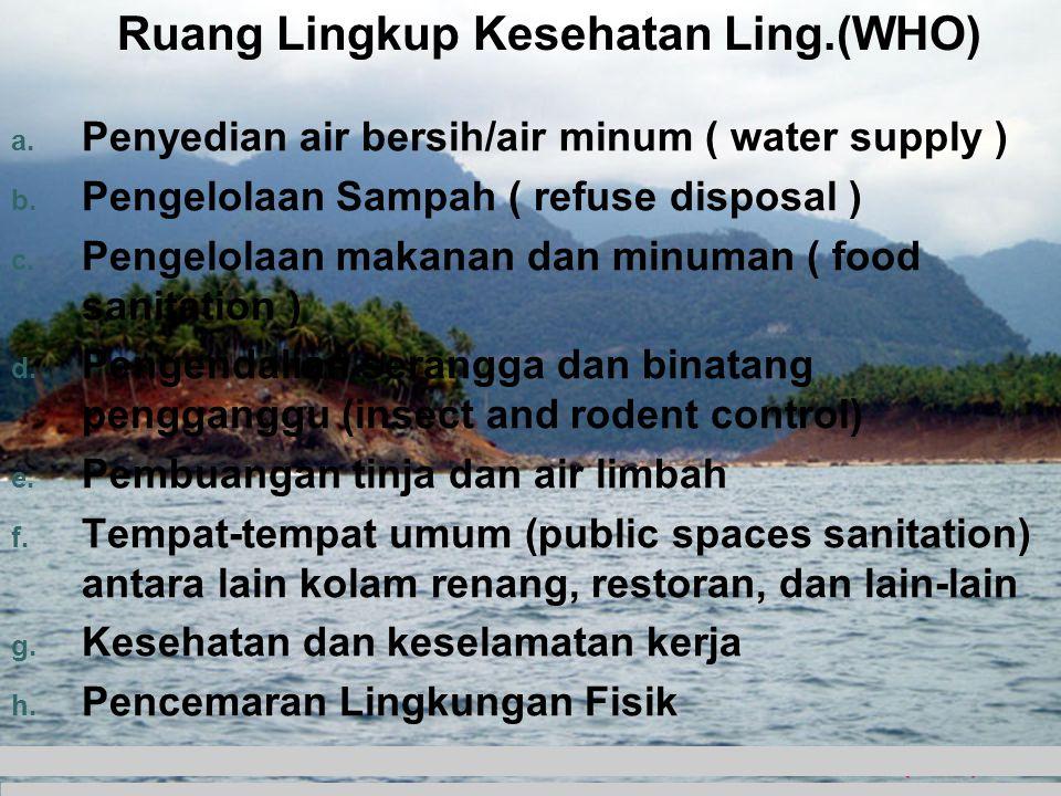 Ruang Lingkup Kesehatan Ling.(WHO) a. Penyedian air bersih/air minum ( water supply ) b. Pengelolaan Sampah ( refuse disposal ) c. Pengelolaan makanan