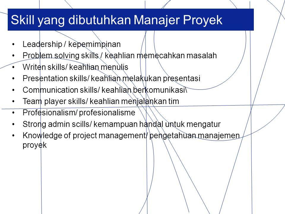 Skill yang dibutuhkan Manajer Proyek Leadership / kepemimpinan Problem solving skills / keahlian memecahkan masalah Writen skills/ keahlian menulis Pr