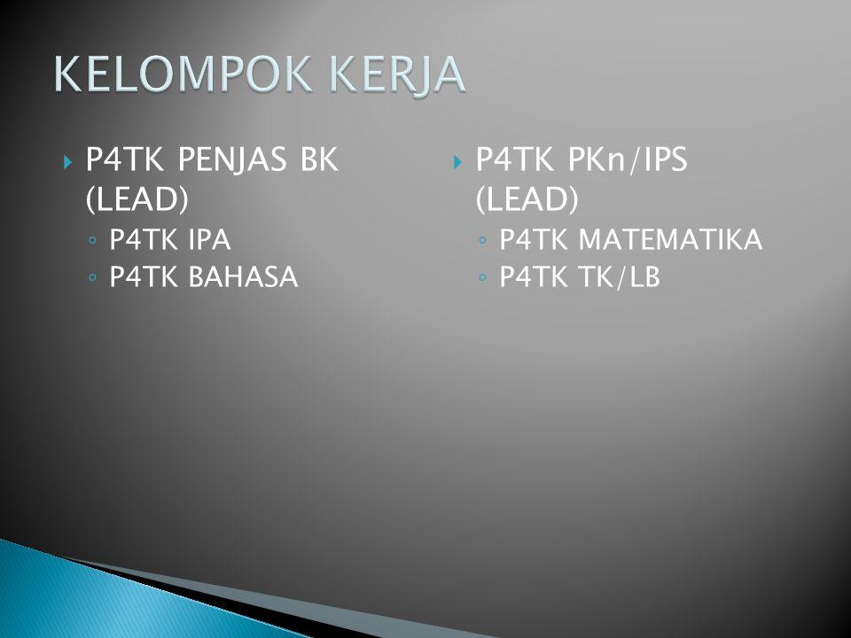  P4TK PENJAS BK (LEAD) ◦ P4TK IPA ◦ P4TK BAHASA  P4TK PKn/IPS (LEAD) ◦ P4TK MATEMATIKA ◦ P4TK TK/LB