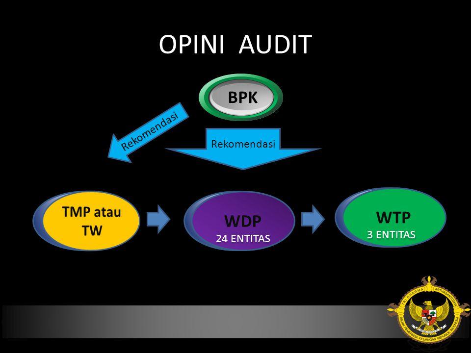 OPINI AUDIT BPK WDP WTP WDP Rekomendasi 3 ENTITAS 24 ENTITAS