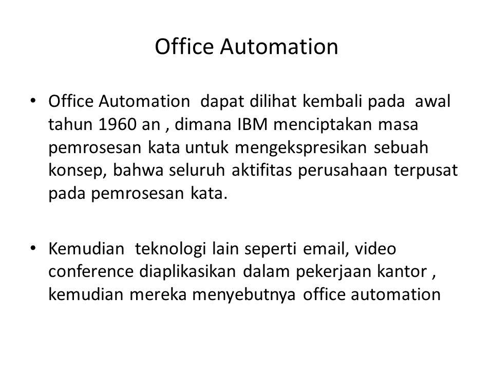 Office Automation Office Automation dapat dilihat kembali pada awal tahun 1960 an, dimana IBM menciptakan masa pemrosesan kata untuk mengekspresikan s