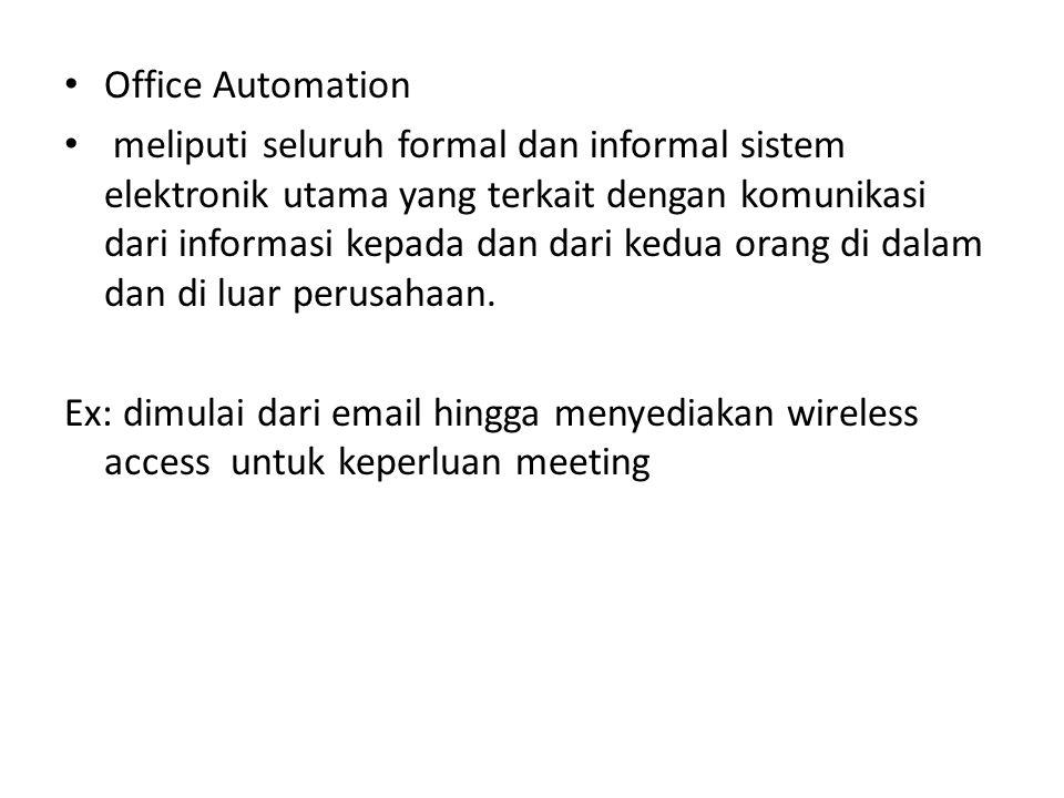 Virtual Office Kemampuan Office Automation yang memungkinkan pekerjanya mengerjakan pekerjaan dimanapun dia berada.
