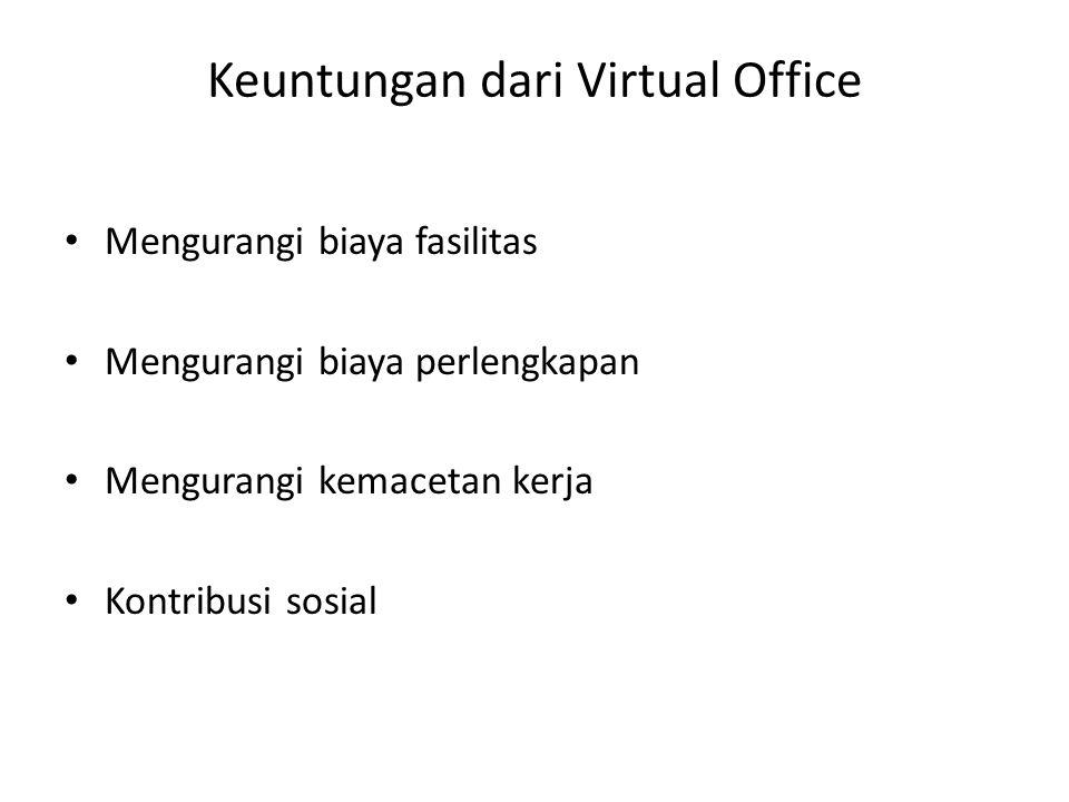 Keuntungan dari Virtual Office Mengurangi biaya fasilitas Mengurangi biaya perlengkapan Mengurangi kemacetan kerja Kontribusi sosial
