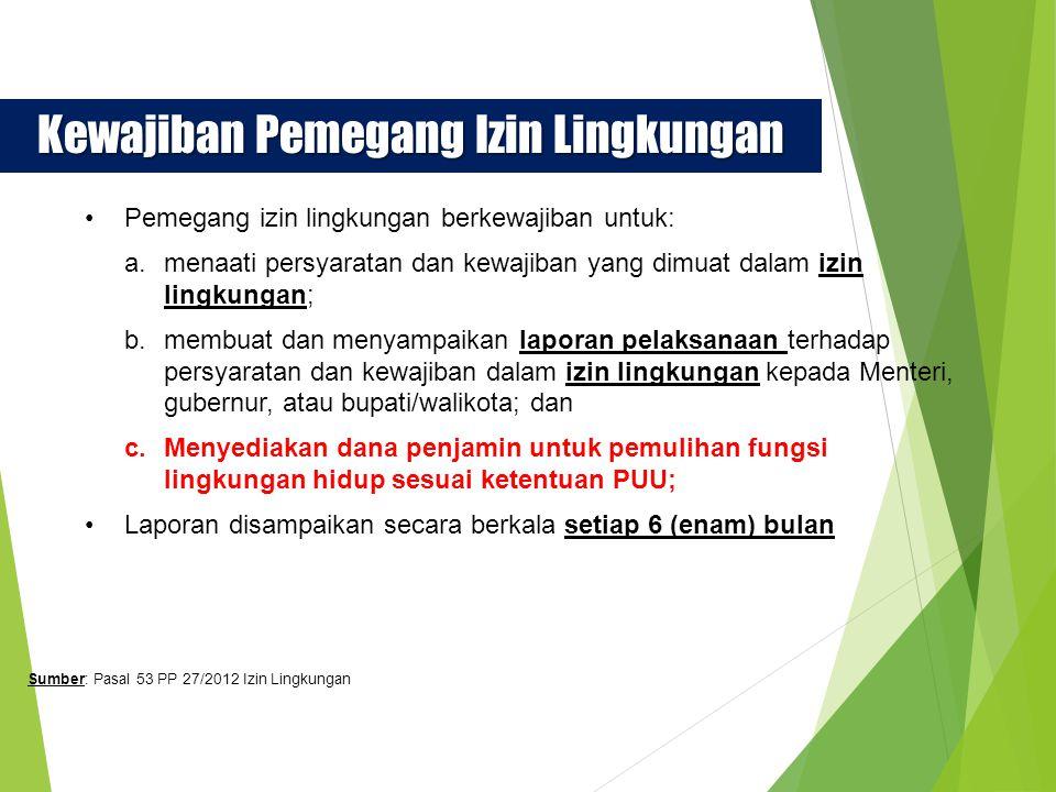 Sanksi Administratif Pemegang izin yang melanggar ketentuan sebagaimana dimaksud dalam Pasal 53 dikenakan sanksi administratif yang meliputi: teguran tertulis; paksaan pemerintah; pembekuan izin lingkungan; atau pencabutan izin lingkungan Sanksi administratif sebagaimana dimaksud pada ayat (1) di terapkan oleh Menteri, gubernur, atau bupati/walikota sesuai dengan kewenangannya 1 2 Sumber: Pasal 56 PP 27/2012 Izin Lingkungan