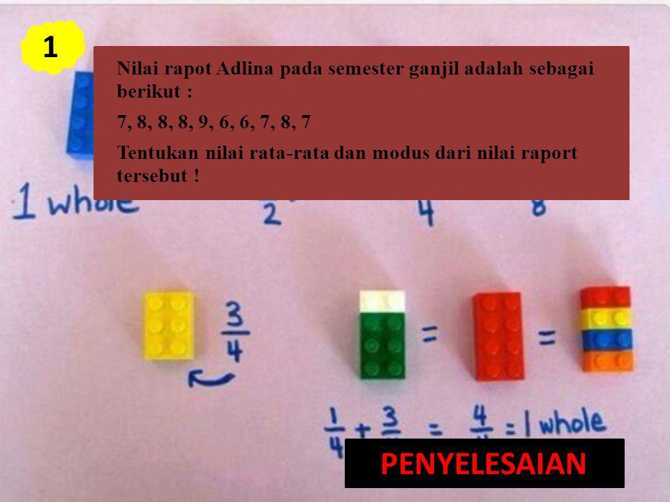 Nilai rapot Adlina pada semester ganjil adalah sebagai berikut : 7, 8, 8, 8, 9, 6, 6, 7, 8, 7 Tentukan nilai rata-rata dan modus dari nilai raport ter