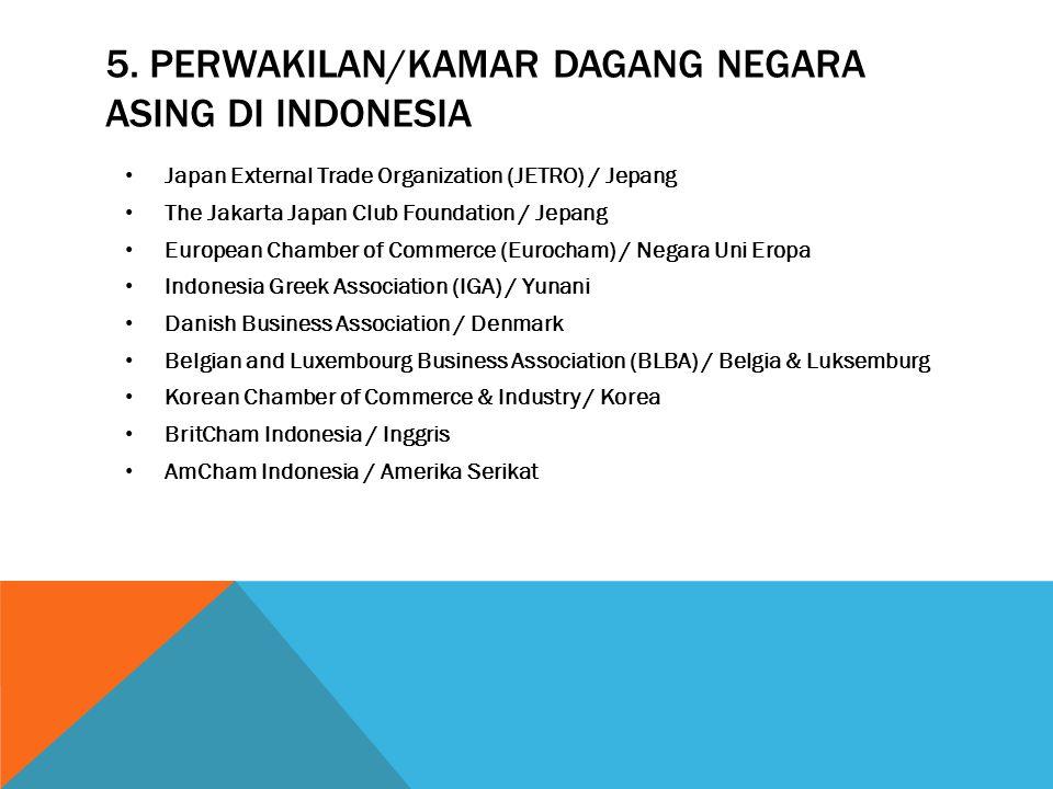 5. PERWAKILAN/KAMAR DAGANG NEGARA ASING DI INDONESIA Japan External Trade Organization (JETRO) / Jepang The Jakarta Japan Club Foundation / Jepang Eur