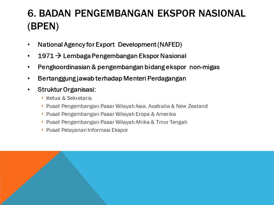 6. BADAN PENGEMBANGAN EKSPOR NASIONAL (BPEN) National Agency for Export Development (NAFED) 1971  Lembaga Pengembangan Ekspor Nasional Pengkoordinasi
