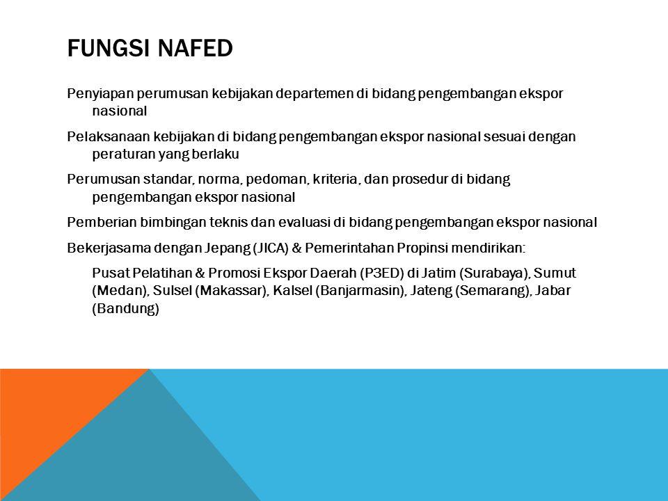 FUNGSI NAFED Penyiapan perumusan kebijakan departemen di bidang pengembangan ekspor nasional Pelaksanaan kebijakan di bidang pengembangan ekspor nasio
