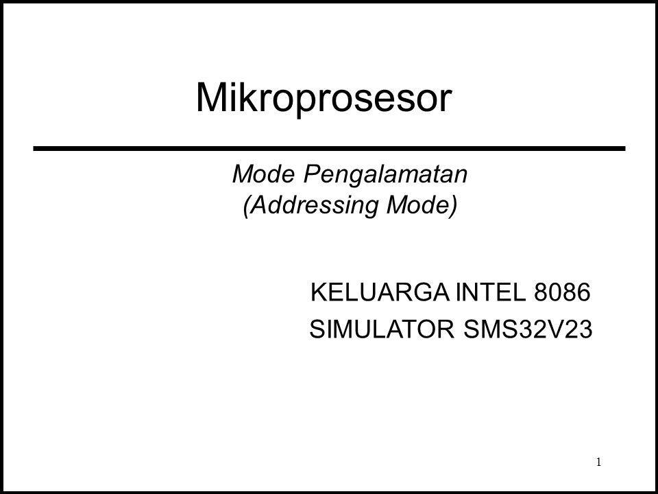 Mikroprosesor Mode Pengalamatan (Addressing Mode) KELUARGA INTEL 8086 SIMULATOR SMS32V23 1