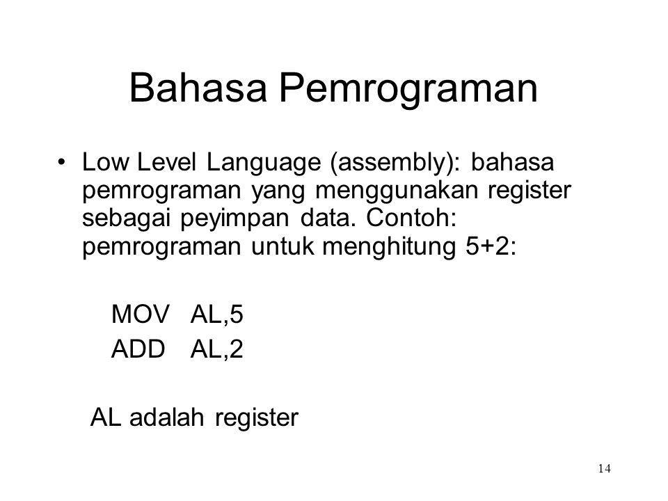 Bahasa Pemrograman Low Level Language (assembly): bahasa pemrograman yang menggunakan register sebagai peyimpan data. Contoh: pemrograman untuk menghi