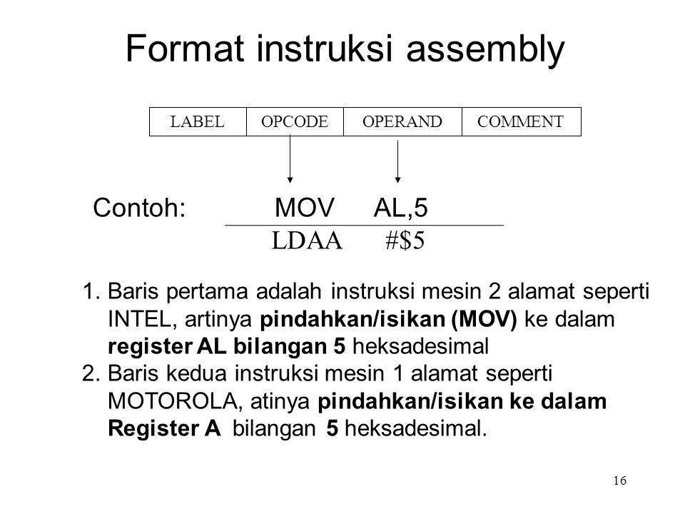 Format instruksi assembly 1.Baris pertama adalah instruksi mesin 2 alamat seperti INTEL, artinya pindahkan/isikan (MOV) ke dalam register AL bilangan