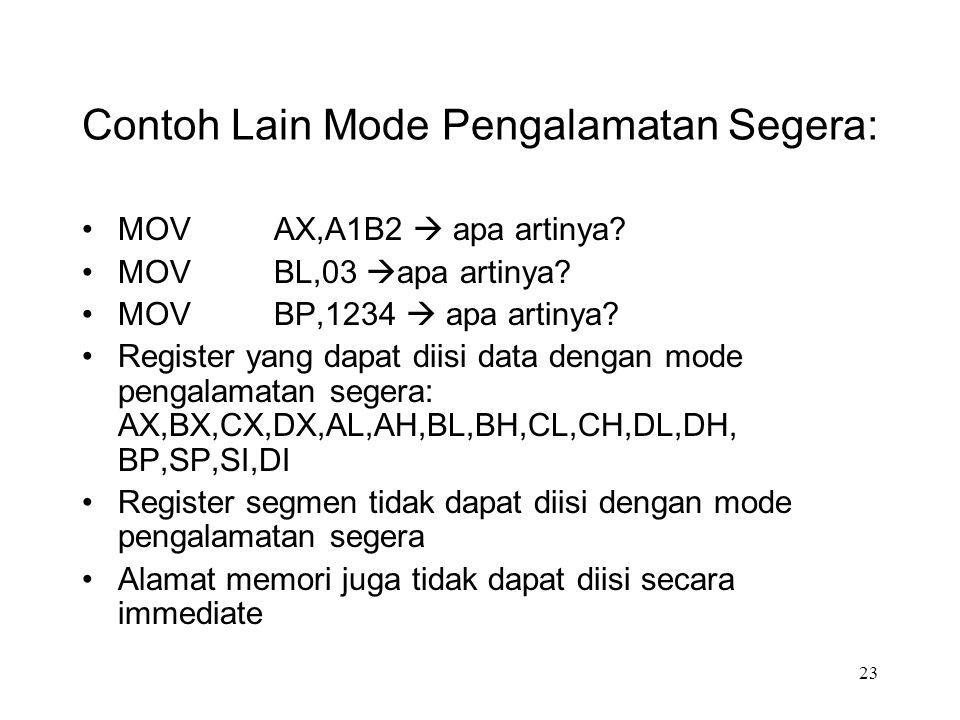 Contoh Lain Mode Pengalamatan Segera: MOVAX,A1B2  apa artinya? MOVBL,03  apa artinya? MOV BP,1234  apa artinya? Register yang dapat diisi data deng