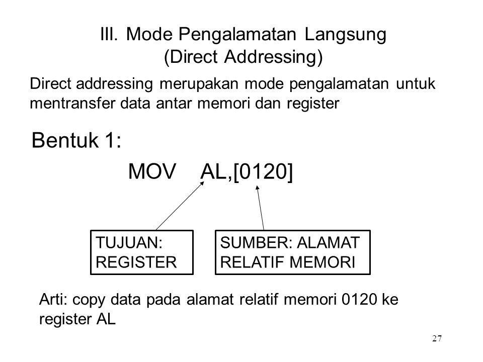 III. Mode Pengalamatan Langsung (Direct Addressing) Bentuk 1: MOV AL,[0120] SUMBER: ALAMAT RELATIF MEMORI Direct addressing merupakan mode pengalamata
