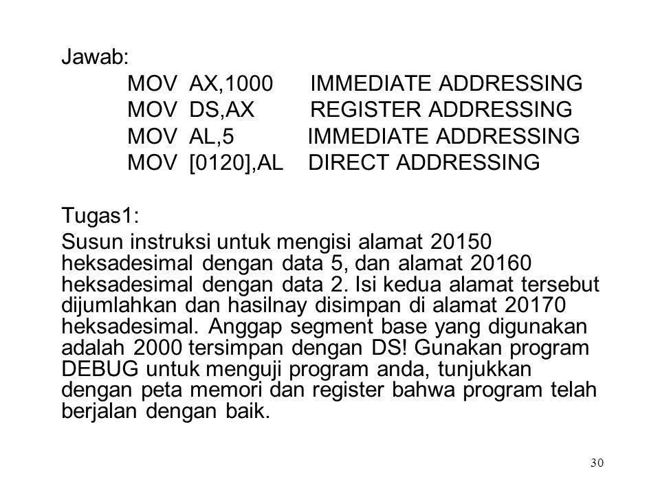 Jawab: MOV AX,1000 IMMEDIATE ADDRESSING MOV DS,AX REGISTER ADDRESSING MOV AL,5 IMMEDIATE ADDRESSING MOV [0120],AL DIRECT ADDRESSING Tugas1: Susun inst