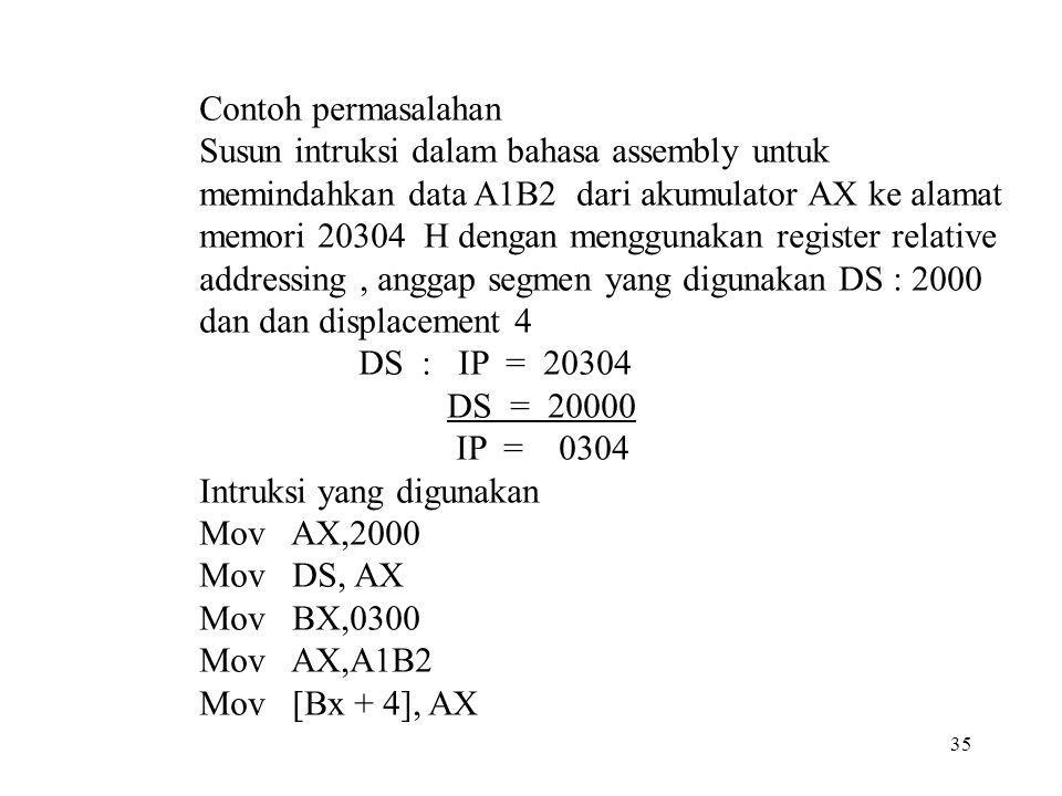 Contoh permasalahan Susun intruksi dalam bahasa assembly untuk memindahkan data A1B2 dari akumulator AX ke alamat memori 20304 H dengan menggunakan re