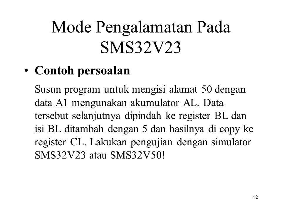 Mode Pengalamatan Pada SMS32V23 Contoh persoalan Susun program untuk mengisi alamat 50 dengan data A1 mengunakan akumulator AL. Data tersebut selanjut