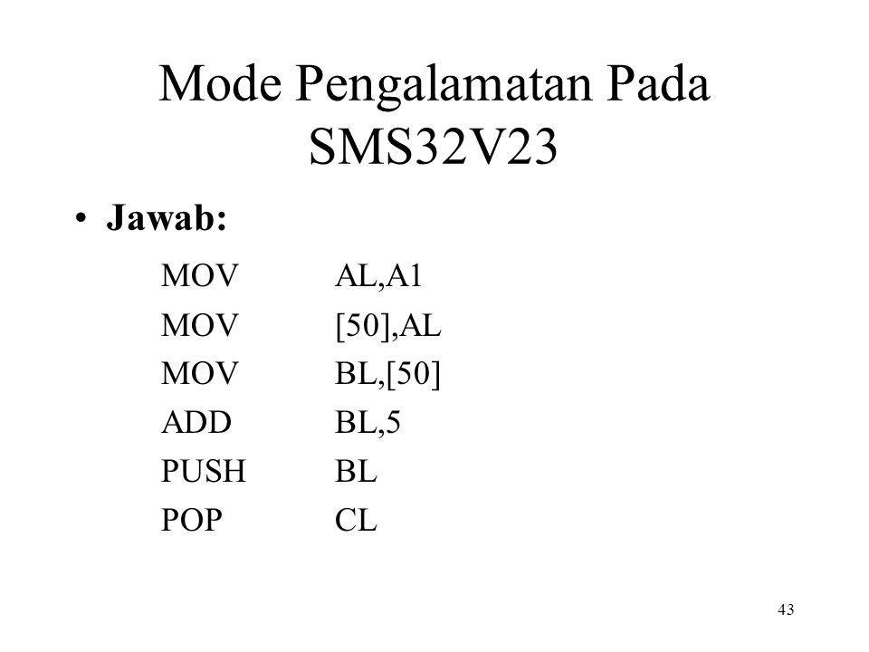 Mode Pengalamatan Pada SMS32V23 Jawab: MOVAL,A1 MOV[50],AL MOVBL,[50] ADDBL,5 PUSHBL POPCL 43