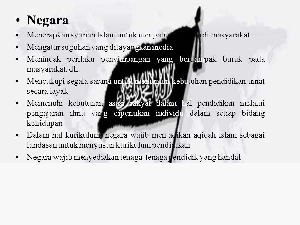 Negara Menerapkan syariah Islam untuk mengatur interaksi di masyarakat Mengatur suguhan yang ditayangkan media Menindak perilaku penyimpangan yang ber