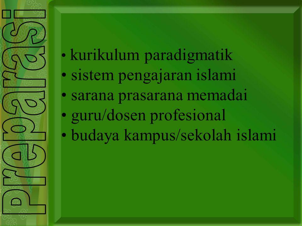 kurikulum paradigmatik sistem pengajaran islami sarana prasarana memadai guru/dosen profesional budaya kampus/sekolah islami