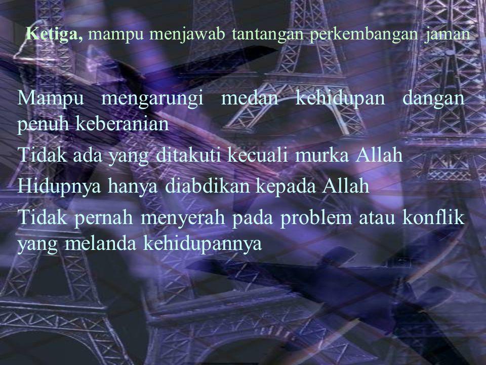 Berpegang pada syariah islam sebagai amanah Memiliki budi pekerti luhur Memiliki jiwa kepemimpinan sifat-sifat yang harus dimiliki oleh seorang pemimpin menurut Taqiyyuddin An-Nabhani ialah : (1) memiliki quwwah ( kekuatan); (2) bertakwa; (3) lemah lembut terhadap rakyatnya (Ar-rifqu birroiyyah) Pemimpin ideal yang terlahir dari generasi cerdas