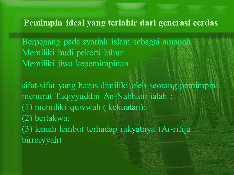 Berpegang pada syariah islam sebagai amanah Memiliki budi pekerti luhur Memiliki jiwa kepemimpinan sifat-sifat yang harus dimiliki oleh seorang pemimp