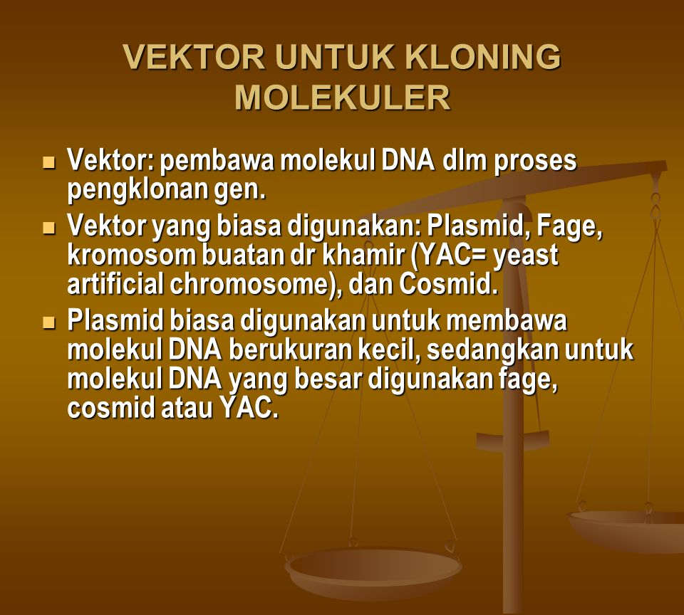 VEKTOR UNTUK KLONING MOLEKULER Vektor: pembawa molekul DNA dlm proses pengklonan gen. Vektor: pembawa molekul DNA dlm proses pengklonan gen. Vektor ya