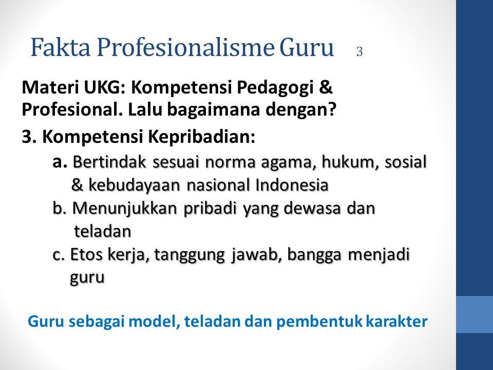Fakta Profesionalisme Guru 3 Materi UKG: Kompetensi Pedagogi & Profesional. Lalu bagaimana dengan? 3. Kompetensi Kepribadian: Bertindak sesuai norma a