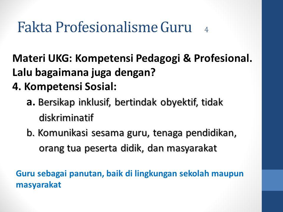 Fakta Profesionalisme Guru 4 Materi UKG: Kompetensi Pedagogi & Profesional. Lalu bagaimana juga dengan? 4. Kompetensi Sosial: Bersikap inklusif, berti