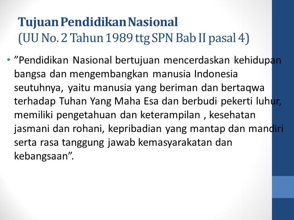 """Tujuan Pendidikan Nasional (UU No. 2 Tahun 1989 ttg SPN Bab II pasal 4) """"Pendidikan Nasional bertujuan mencerdaskan kehidupan bangsa dan mengembangkan"""