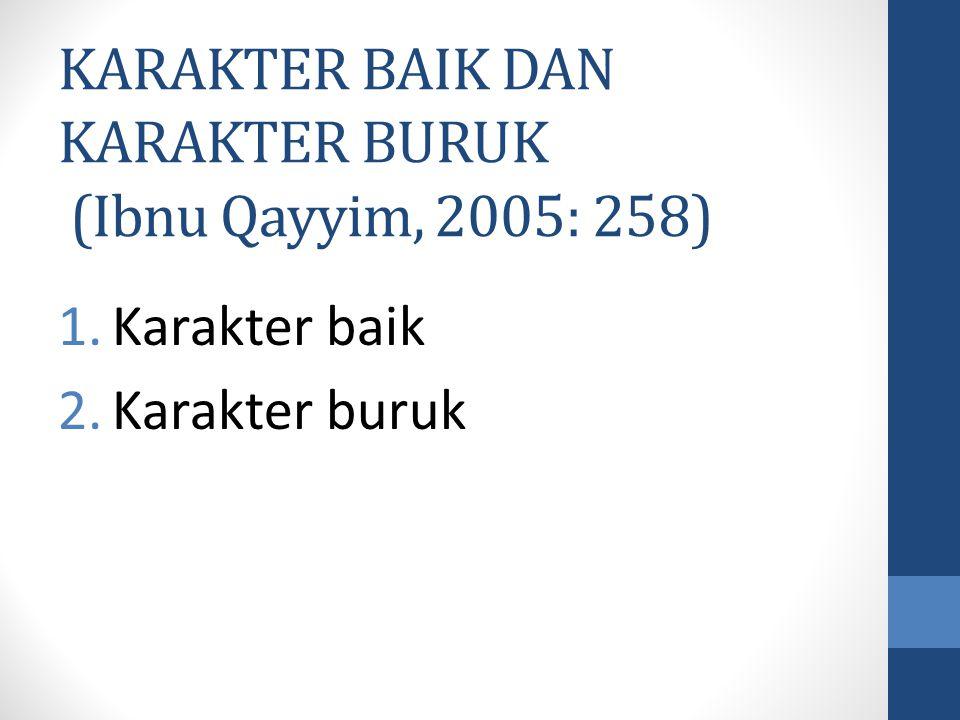 KARAKTER BAIK DAN KARAKTER BURUK (Ibnu Qayyim, 2005: 258) 1.Karakter baik 2.Karakter buruk