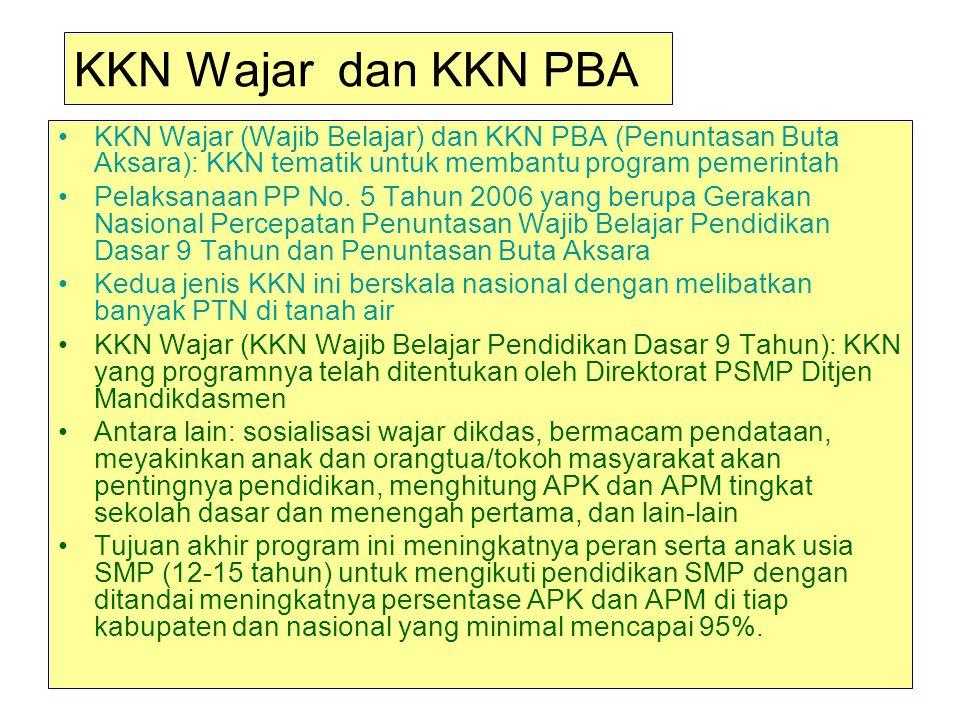 KKN Wajar dan KKN PBA KKN Wajar (Wajib Belajar) dan KKN PBA (Penuntasan Buta Aksara): KKN tematik untuk membantu program pemerintah Pelaksanaan PP No.