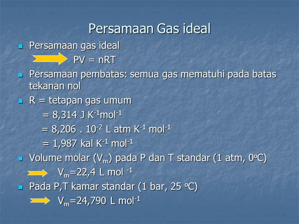 Persamaan Gas ideal Persamaan gas ideal Persamaan gas ideal PV = nRT PV = nRT Persamaan pembatas: semua gas mematuhi pada batas tekanan nol Persamaan