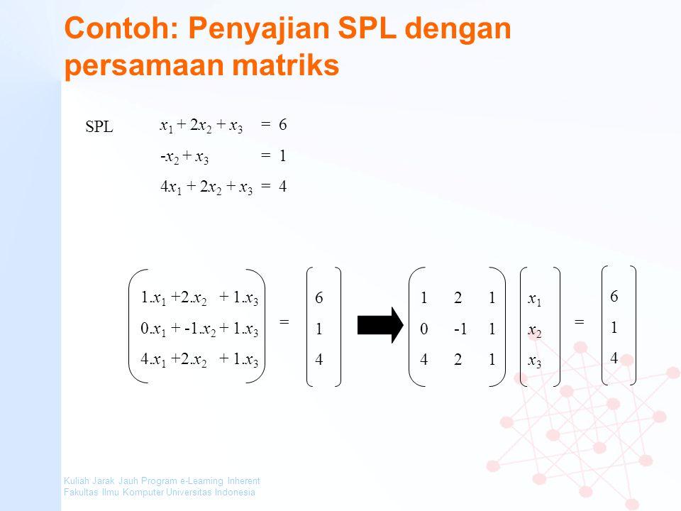Kuliah Jarak Jauh Program e-Learning Inherent Fakultas Ilmu Komputer Universitas Indonesia Contoh: Penyajian SPL dengan persamaan matriks x 1 + 2x 2 +