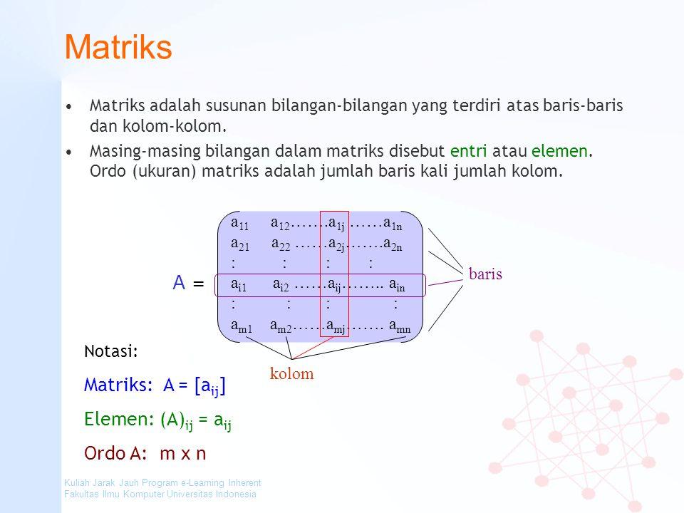 Kuliah Jarak Jauh Program e-Learning Inherent Fakultas Ilmu Komputer Universitas Indonesia Matriks Matriks adalah susunan bilangan-bilangan yang terdi