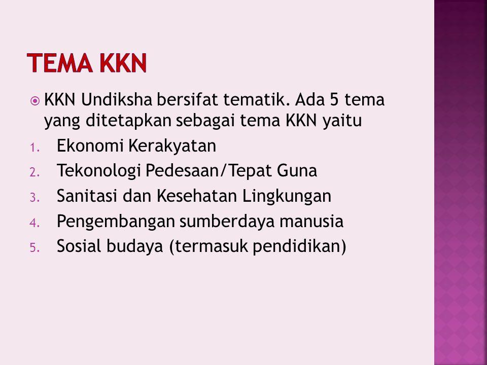  KKN Undiksha bersifat tematik.Ada 5 tema yang ditetapkan sebagai tema KKN yaitu 1.