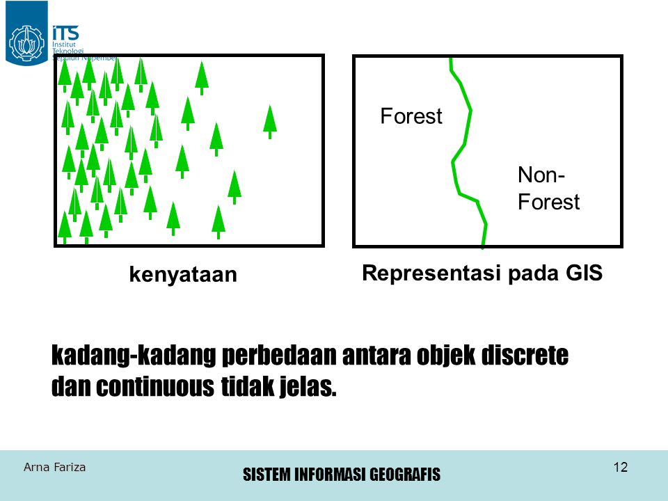 SISTEM INFORMASI GEOGRAFIS Arna Fariza 12 kenyataan Forest Non- Forest Representasi pada GIS kadang-kadang perbedaan antara objek discrete dan continu