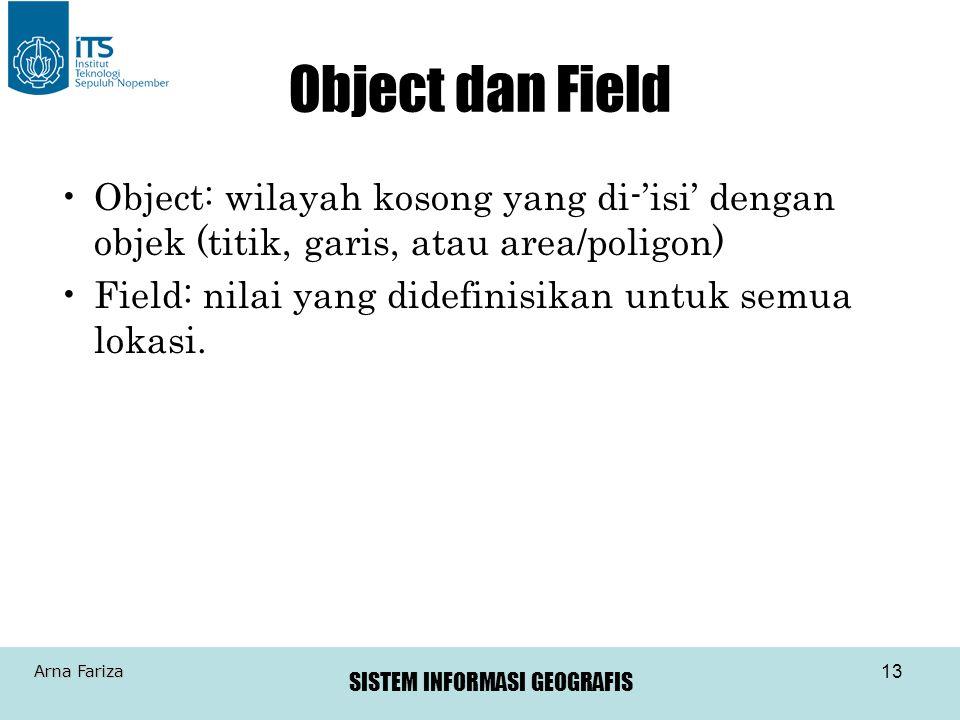 SISTEM INFORMASI GEOGRAFIS Arna Fariza 13 Object dan Field Object: wilayah kosong yang di-'isi' dengan objek (titik, garis, atau area/poligon) Field: