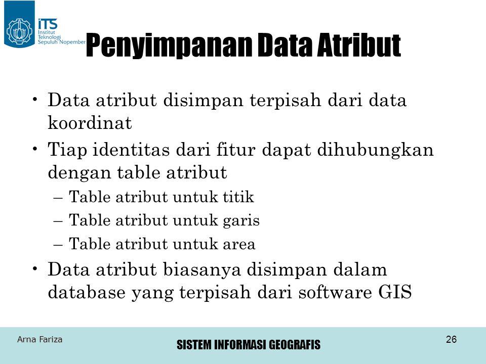 SISTEM INFORMASI GEOGRAFIS Arna Fariza 26 Penyimpanan Data Atribut Data atribut disimpan terpisah dari data koordinat Tiap identitas dari fitur dapat