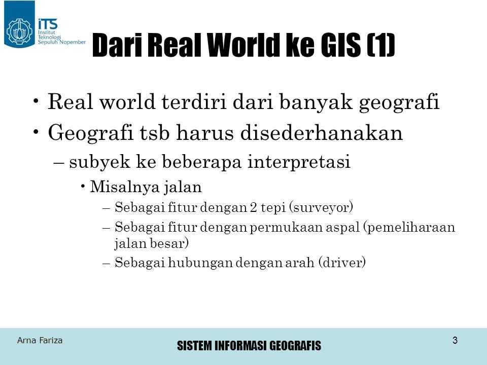 SISTEM INFORMASI GEOGRAFIS Arna Fariza 3 Dari Real World ke GIS (1) Real world terdiri dari banyak geografi Geografi tsb harus disederhanakan –subyek