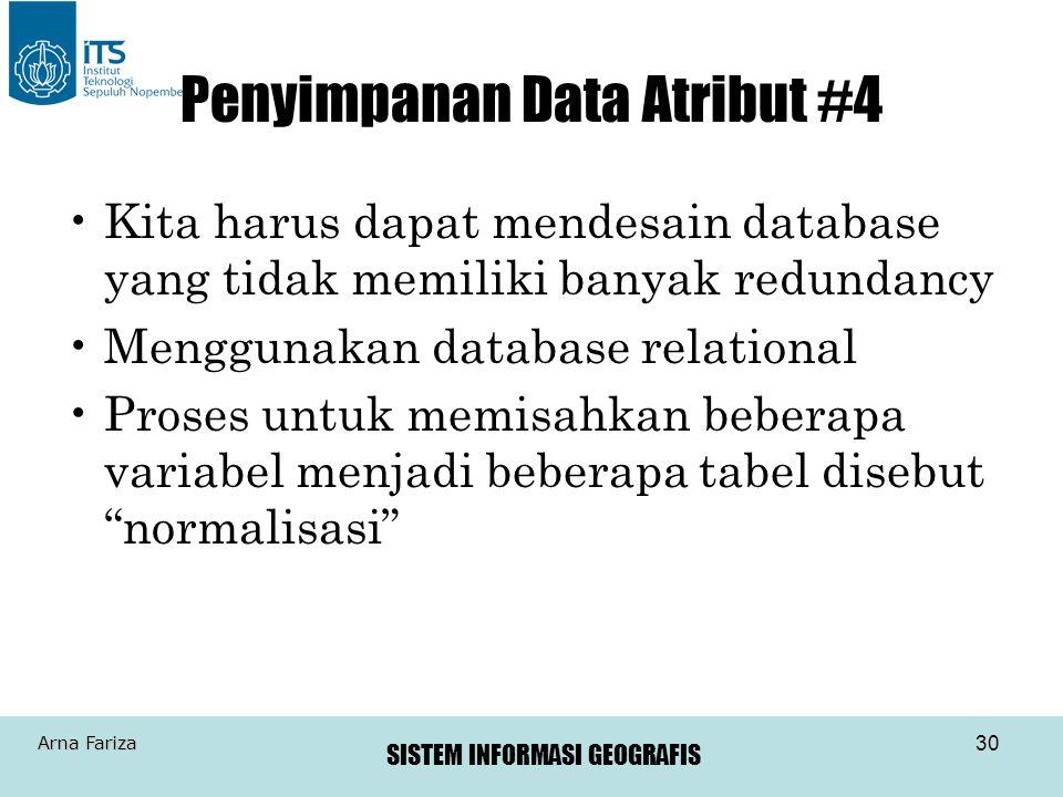SISTEM INFORMASI GEOGRAFIS Arna Fariza 30 Penyimpanan Data Atribut #4 Kita harus dapat mendesain database yang tidak memiliki banyak redundancy Menggu