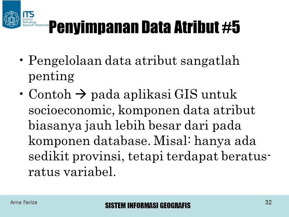 SISTEM INFORMASI GEOGRAFIS Arna Fariza 32 Penyimpanan Data Atribut #5 Pengelolaan data atribut sangatlah penting Contoh  pada aplikasi GIS untuk soci