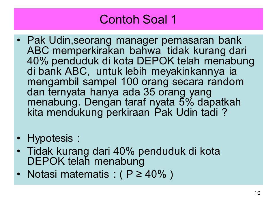 10 Contoh Soal 1 Pak Udin,seorang manager pemasaran bank ABC memperkirakan bahwa tidak kurang dari 40% penduduk di kota DEPOK telah menabung di bank A