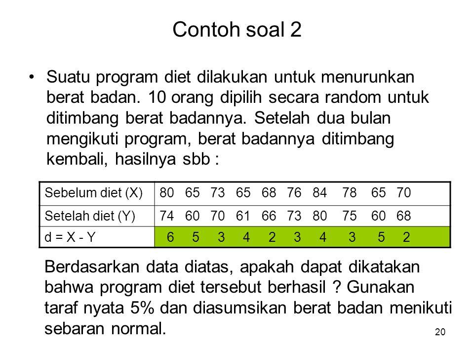 20 Contoh soal 2 Suatu program diet dilakukan untuk menurunkan berat badan. 10 orang dipilih secara random untuk ditimbang berat badannya. Setelah dua
