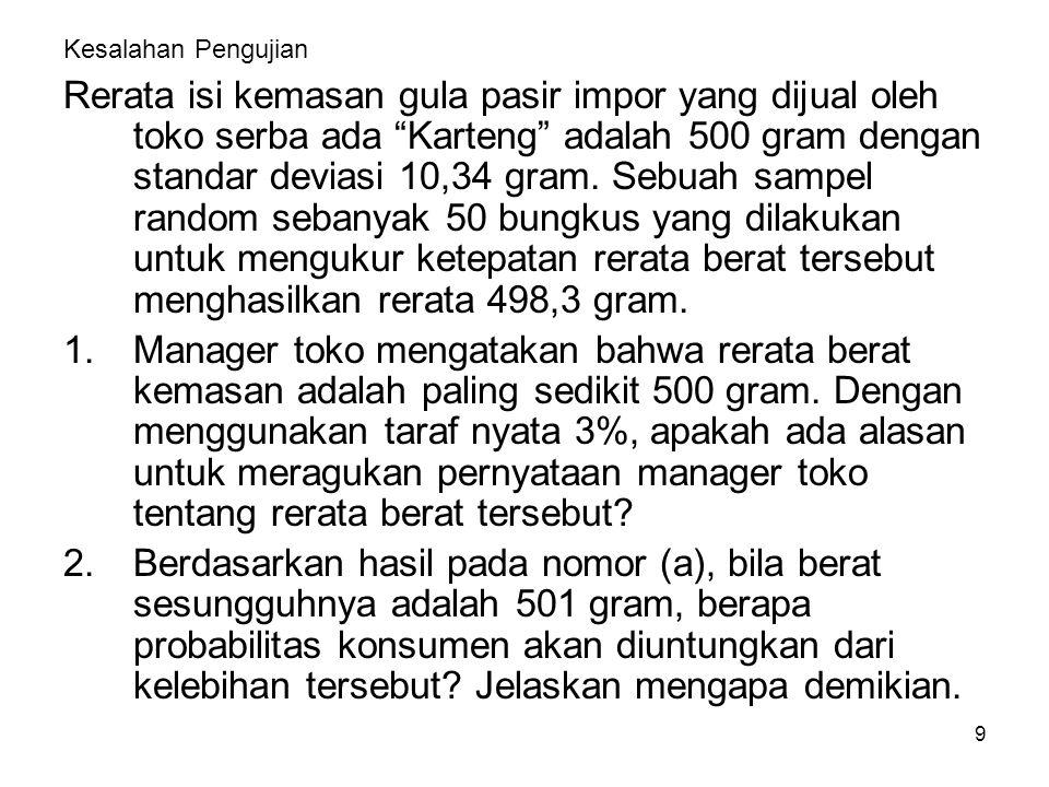 "9 Kesalahan Pengujian Rerata isi kemasan gula pasir impor yang dijual oleh toko serba ada ""Karteng"" adalah 500 gram dengan standar deviasi 10,34 gram."