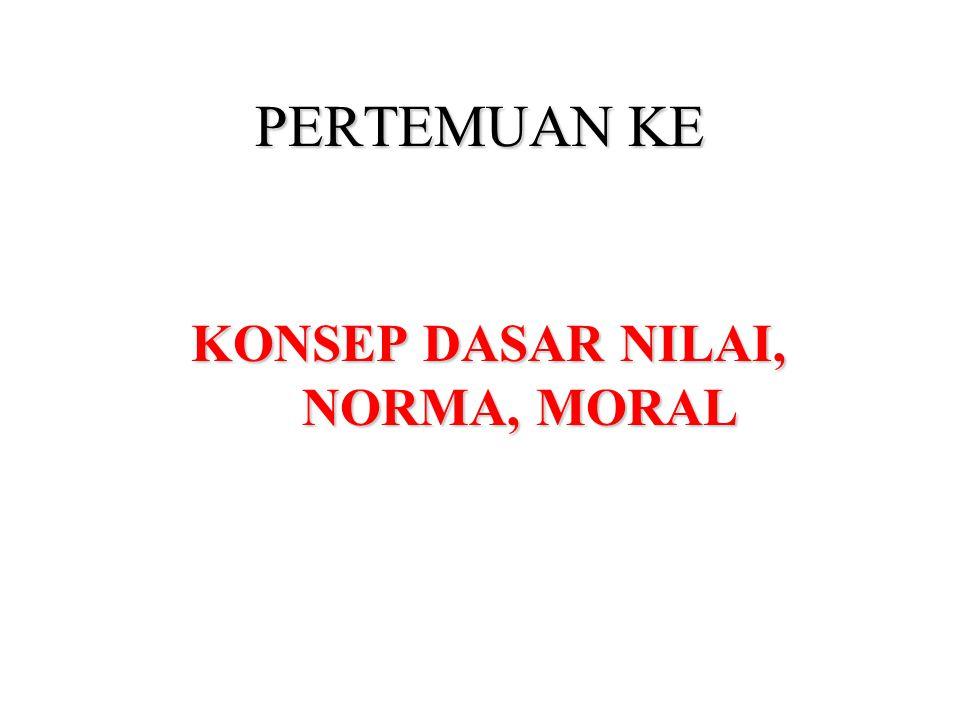PERTEMUAN KE KONSEP DASAR NILAI, NORMA, MORAL