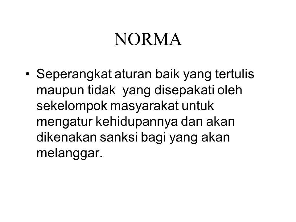 NORMA Seperangkat aturan baik yang tertulis maupun tidak yang disepakati oleh sekelompok masyarakat untuk mengatur kehidupannya dan akan dikenakan san