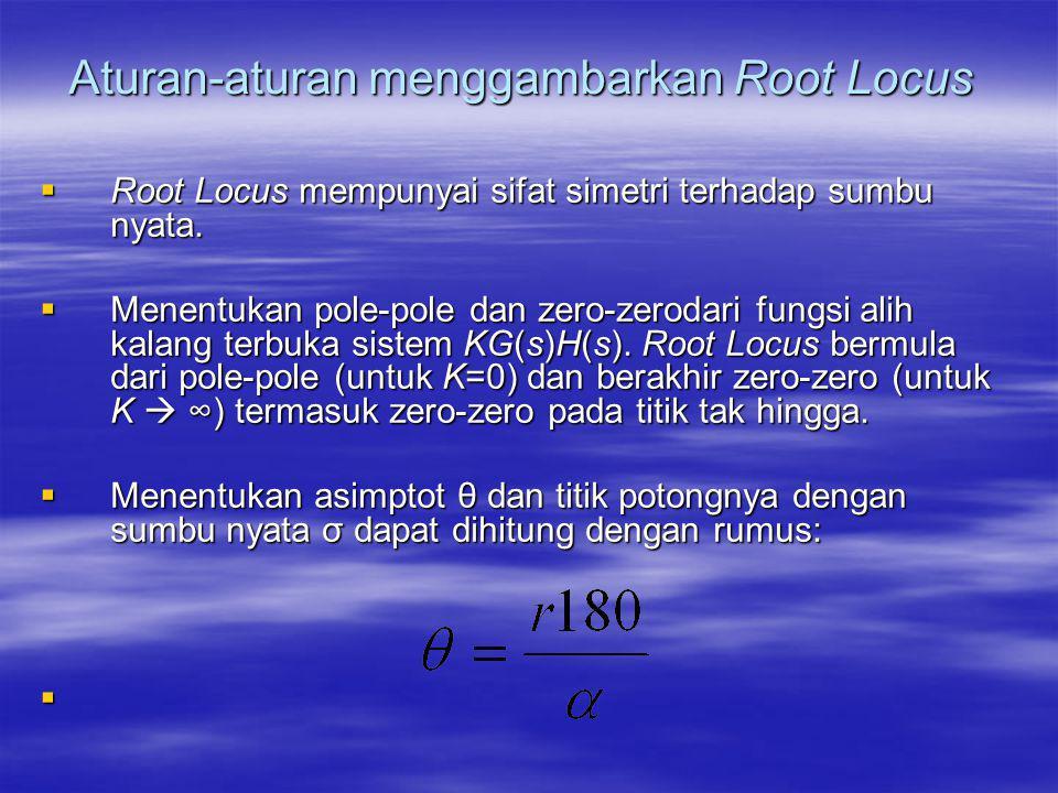 Aturan-aturan menggambarkan Root Locus  Root Locus mempunyai sifat simetri terhadap sumbu nyata.  Menentukan pole-pole dan zero-zerodari fungsi alih