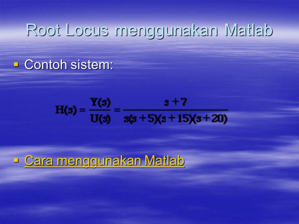 Root Locus menggunakan Matlab  Contoh sistem:  Cara menggunakan Matlab Cara menggunakan Matlab Cara menggunakan Matlab