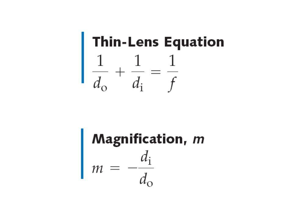 Konvensi tanda lensa tipis  Panjang focus (f ) : positif untuk cermin cembung negatif untuk cermin cekung  Perbesaran (m) positif untuk bayangan tegak (sama dengan arah benda) negatif untuk bayangan terbalik (berlawanan arah benda)  Jarak Bayangan (d i ) positif untuk bayangan nyata (bayangan berada pada posisi berlawanan dengan bendanya) negatif untuk bayangan maya (bayangan berada pada posisi yang sama dengan bendanya)  Jarak Benda (d o ) positif untuk benda nyata negatif untuk benda maya